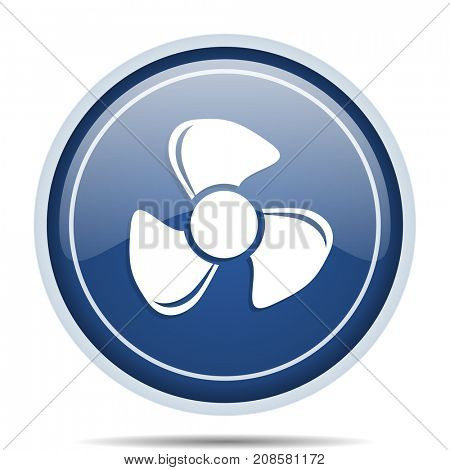 Fan blue round web icon. Circle isolated internet button for webdesign and smartphone applications.