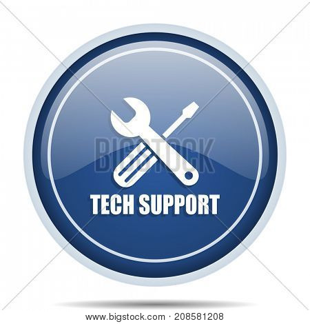 Technical support blue round web icon. Circle isolated internet button for webdesign and smartphone applications.