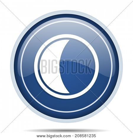 Moon blue round web icon. Circle isolated internet button for webdesign and smartphone applications.
