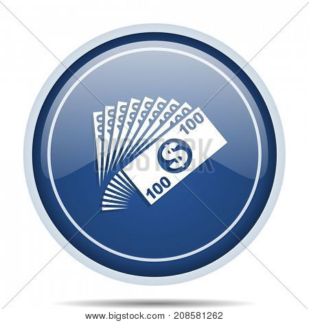 Money blue round web icon. Circle isolated internet button for webdesign and smartphone applications.