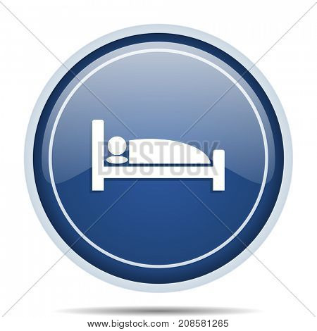 Hotel blue round web icon. Circle isolated internet button for webdesign and smartphone applications.