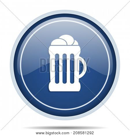 Beer blue round web icon. Circle isolated internet button for webdesign and smartphone applications.