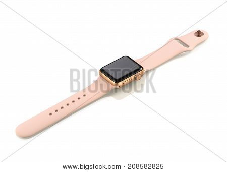 Moscow, Russia - October 07, 2017: New Apple Watch Series 3 Gold Aluminum Case Pink Sand Sport Band.