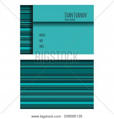 Template of business card in blue tones with stripes. Personal information. Nominal business card. Vector illustration.