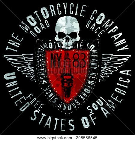 Motorcycle Skull Tee Graphic Design fashion style