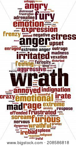 Wrath word cloud concept. Vector illustration on white