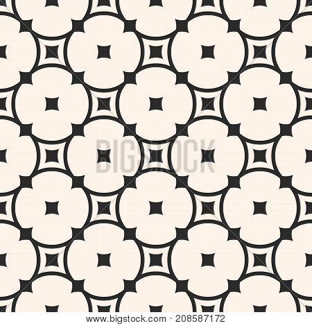 Vector monochrome seamless pattern. Simple elegant geometric texture with rounded lattice, circles, squares. Abstract monochrome repeat background texture. Design for decor, fabric, textile, furniture. Ornamental pattern.