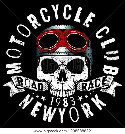 Motorcycle Racing Typography Graphics and Poster. Skull and Old school bike. T-shirt Design vector illustration