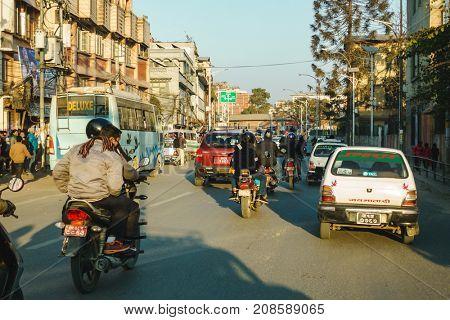KATHMANDU, NEPAL - CIRCA JANUARY 2017: Traffic on Jamal road.