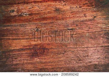 Grunge Background Of Old Red Wooden Plank.