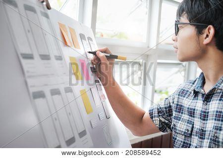 Web designer UX UI designer planning application for mobile phone.