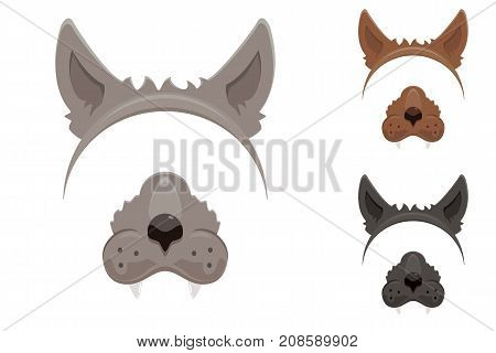 Set of werewolf masks for Halloween isolated on white background, illustration. poster