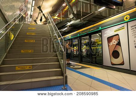 SAO PAULO BRAZIL - OCTOBER 12 2017: Horizontal picture of the stairs inside the metro station Paulista yellow line located in the city of Sao Paulo Brazil.