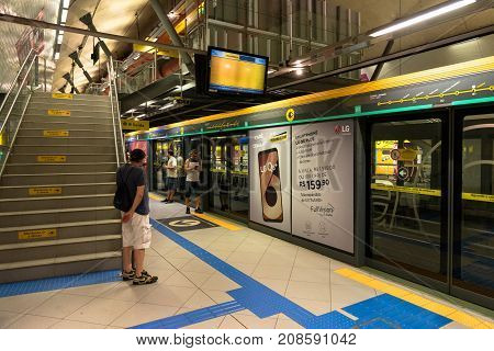 SAO PAULO BRAZIL - OCTOBER 12 2017: Wide angle picture of the stairs inside the metro station Paulista yellow line located in the city of Sao Paulo Brazil.