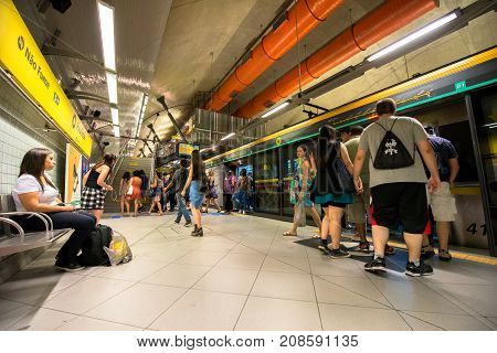 SAO PAULO BRAZIL - OCTOBER 12 2017: Wide angle picture of the platform of the metro station Paulista yellow line located in the city of Sao Paulo Brazil.