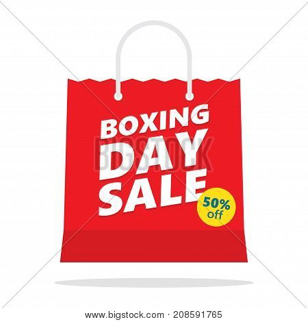 Boxing day sale. shopping bag. vector illustration
