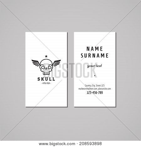 Business card hipster style with skull and wings black logo (vector). Vintage design.