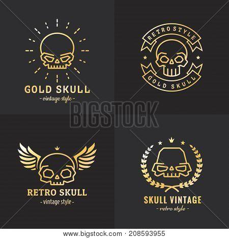 Skulls outline gold logo vector set. Vintage design. Part two.