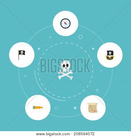 Flat Icons Treasure Map, Cranium, Telescope And Other Vector Elements