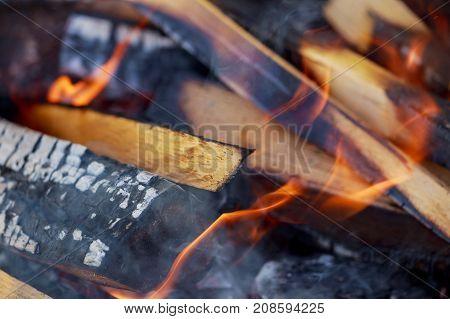 wood fire heat Bonfire close-up view close-up fire coal