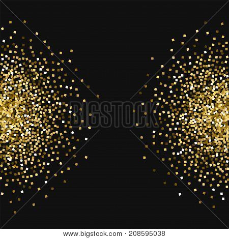 Gold Glitter. Half Circles With Gold Glitter On Black Background. Cool Vector Illustration.