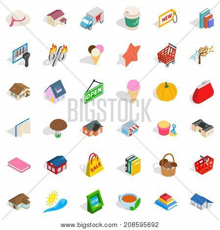 Home icons set. Isometric style of 36 home vector icons for web isolated on white background