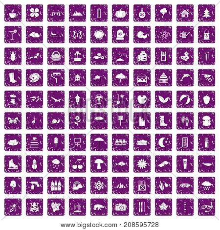 100 landscape icons set in grunge style purple color isolated on white background vector illustration