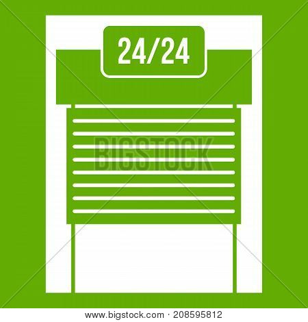 24 hours parking icon white isolated on green background. Vector illustration