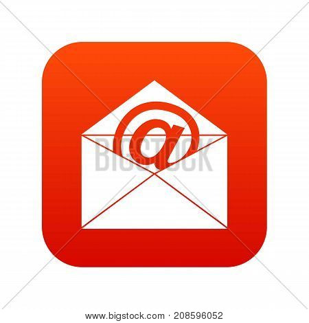 Envelope with email sign icon digital red for any design isolated on white vector illustration