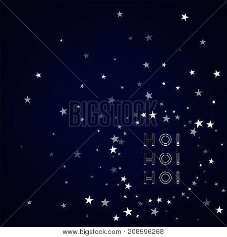 Ho-ho-ho Greeting Card. Random Falling Stars Background. Random Falling Stars On Deep Blue Backgroun