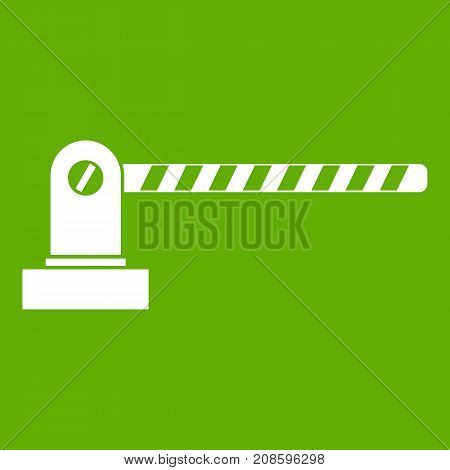 Parking barrier icon white isolated on green background. Vector illustration