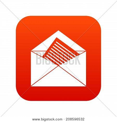 Open envelope with sheet of paper icon digital red for any design isolated on white vector illustration