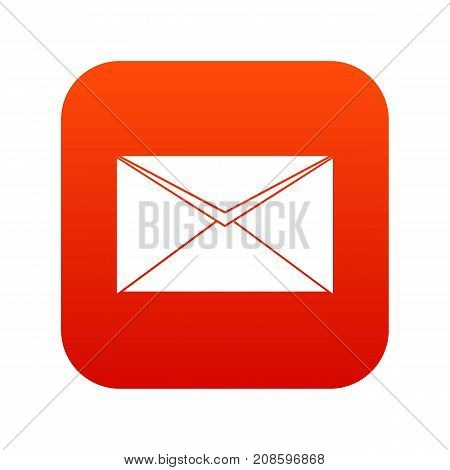 Closed envelope icon digital red for any design isolated on white vector illustration