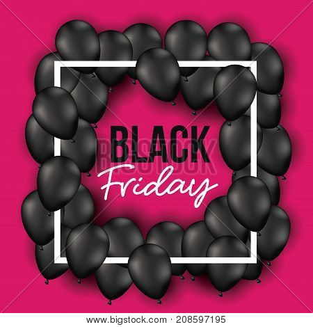 black friday poster with frame with balloons and magenta background vector illustration