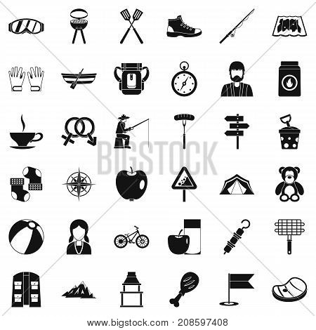 Walking icons set. Simple style of 36 walking vector icons for web isolated on white background