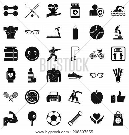 Stopwatch icons set. Simple style of 36 stopwatch vector icons for web isolated on white background