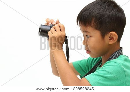 Japanese Boy Taking A Picture (second Grade At Elementary School)