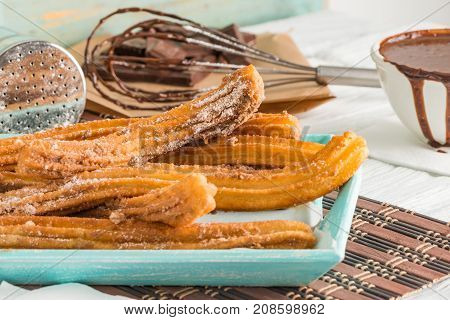 Traditional Churros With Hot Chocolate
