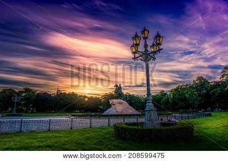 Landscape of St. Petersburg at dawn with dramatic sky