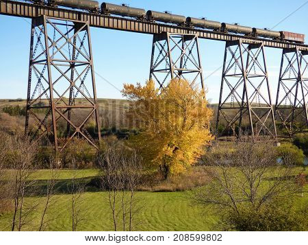 Part of the Skyline railroad bridge in Valley City ND.
