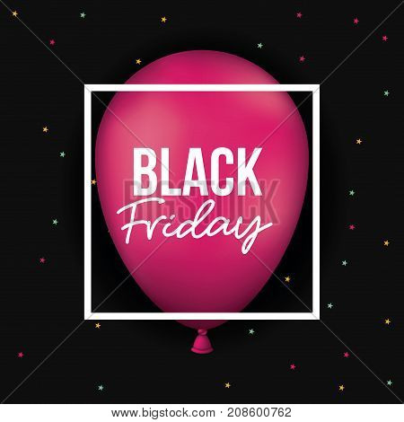 black friday poster with white frame over magenta balloon in black and starry color background vector illustration