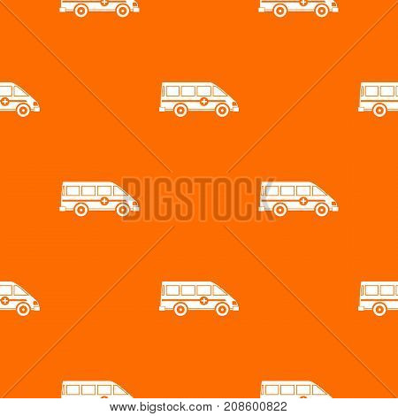 Ambulance emergency van pattern repeat seamless in orange color for any design. Vector geometric illustration