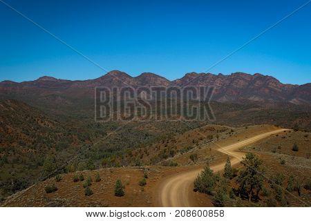 Winding unmade road in the Flinders Ranges, Australia