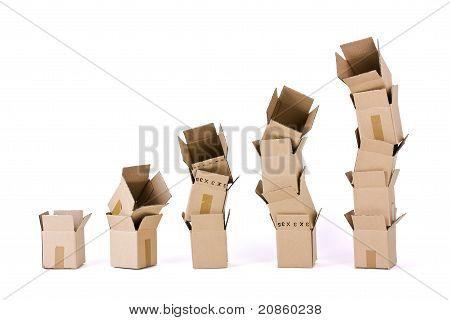 Fünf Spalten Boxen auf weiß