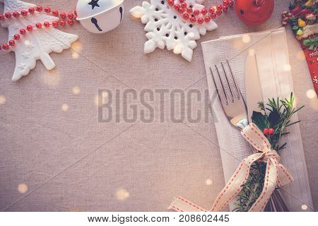 Christmas table place setting holidays copy space background
