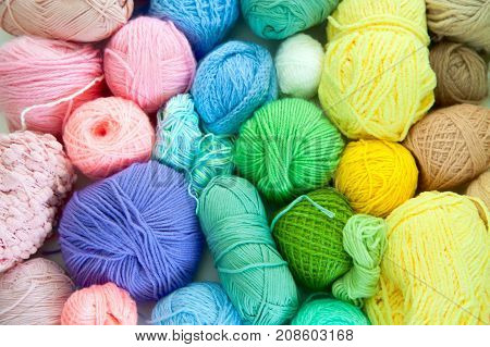 Color yarn for knitting. Accessories for needlework.