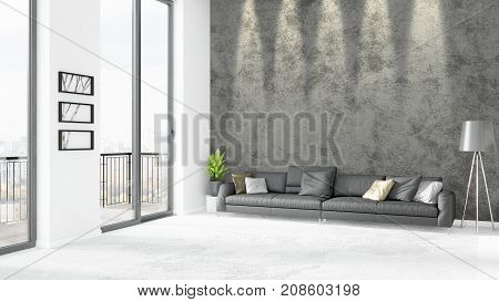 Brand New White Loft Bedroom Minimal Style Interior Design With Copyspace Wall And View Out Of Windo