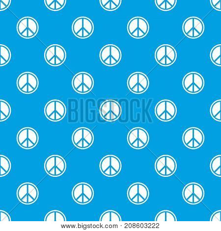Sign hippie peace pattern repeat seamless in blue color for any design. Vector geometric illustration