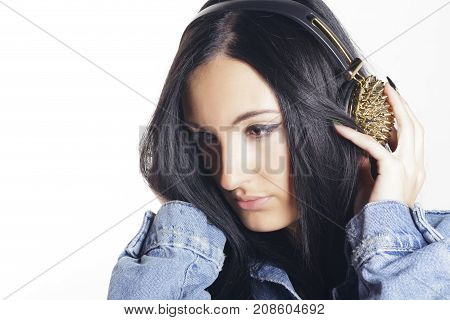 Young Woman With Headphones, Listening Music.