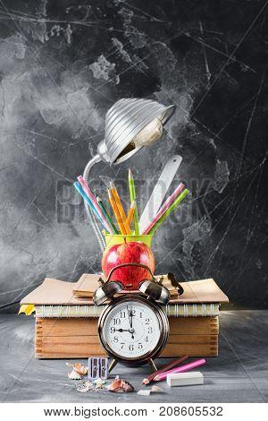 Concept Back To School Clock Chalk Pencil Apple